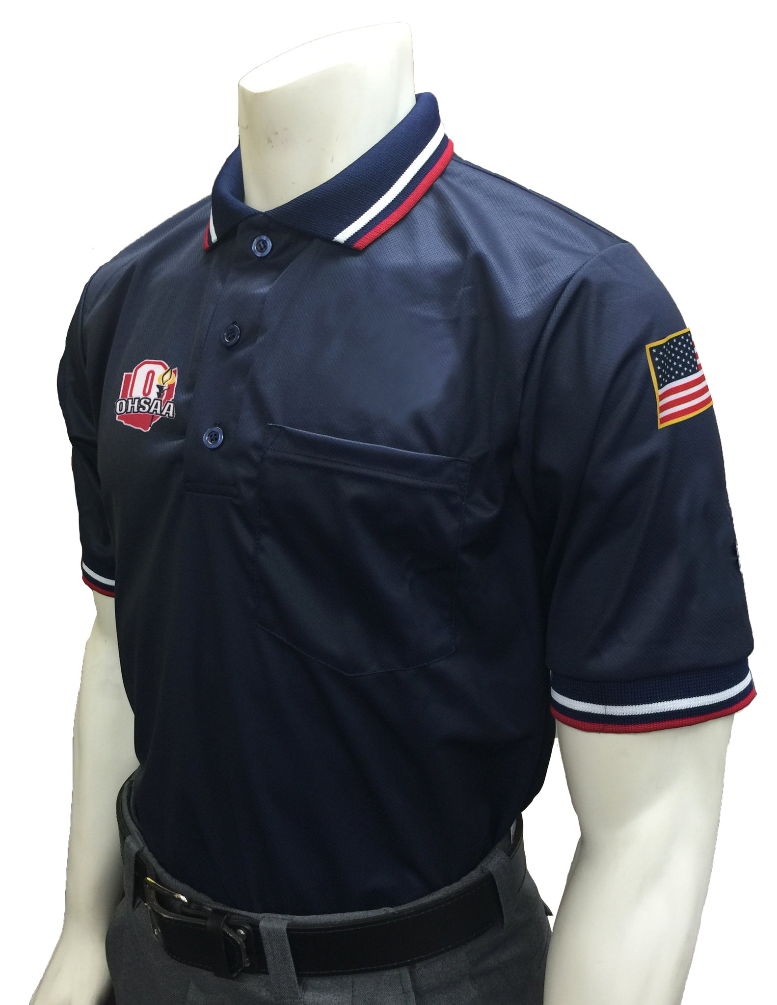 "USA300 OH - Smitty ""Made in USA"" - ""OHSAA"" Short Sleeve Baseball Ump Shirt Navy"
