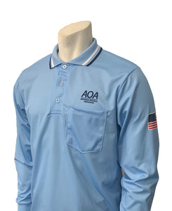 "USA301AR-PB - Smitty ""Made in USA"" - ""AOA"" Long Sleeve Powder Blue Umpire Shirt"
