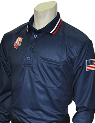 "USA301 OH - Smitty ""Made in USA"" - ""OHSAA"" Long Sleeve Baseball Ump Shirt Navy"
