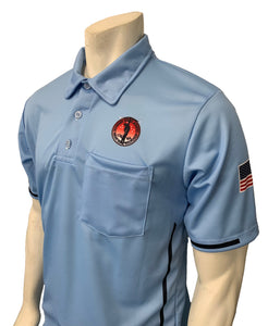 "USA310OK-CB - Smitty ""Made in USA"" - ""OSSAA"" Short Sleeve Carolina Blue Softball Umpire Shirt"