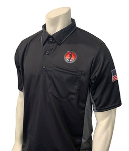 "USA312OK-BK/CG - Smitty ""Made in USA"" - ""OSSAA"" Short Sleeve Black/Charcoal Grey Baseball Umpire Shirt"