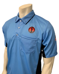 "USA312OK-SB/BLK - Smitty ""Made in USA"" - ""OSSAA"" Short Sleeve Sky Blue/Black Baseball Umpire Shirt"