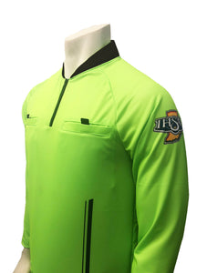"USA901IN-FG- Smitty ""Made in USA"" - ""PERFORMANCE MESH"" ""IHSAA"" Florescent Green Long Sleeve Soccer Shirt"