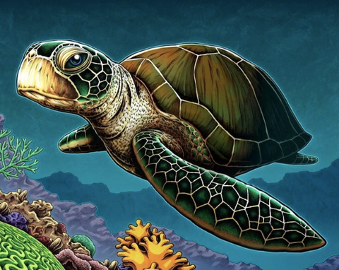 A diamond painting of a turtle.
