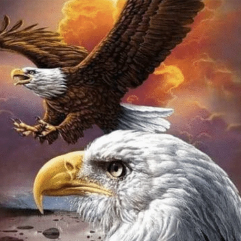 A diamond painting of eagles.