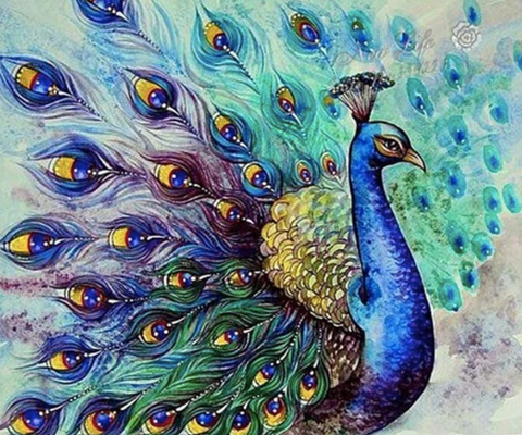 A diamond painting of a peacock.
