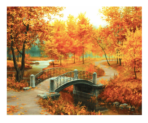 A diamond painting of a park in autumn.