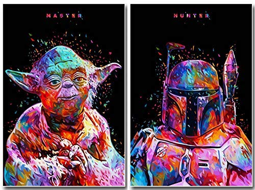 star wars diamond paintings of boba fett and yoda