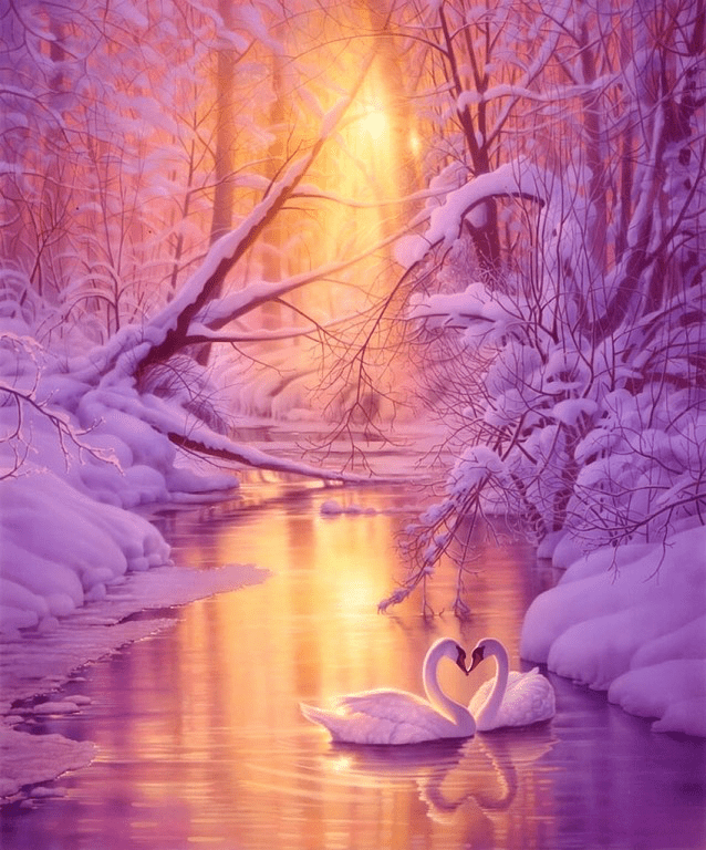 Winter Sunset on Swan Lake