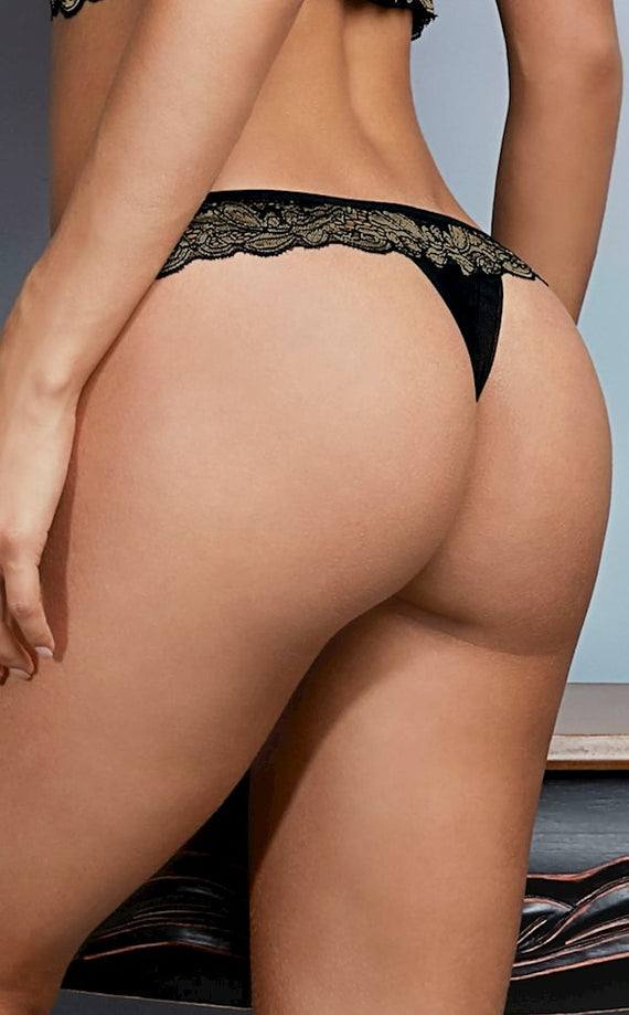 String Panty with gold details, Belles
