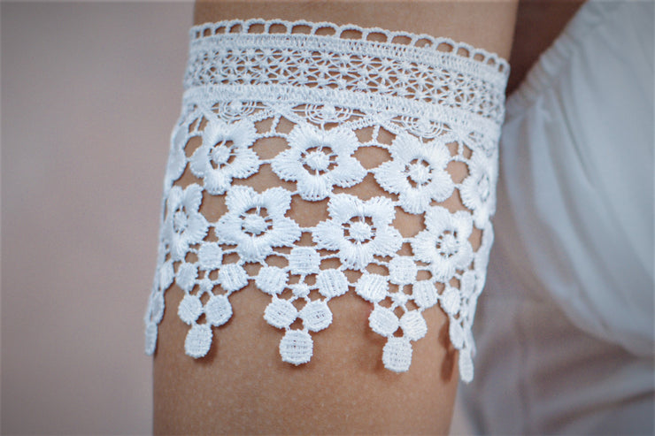Floral lace white arm bracelet # 1- bridal collection  Arm bracelet - StudioSharonGuy
