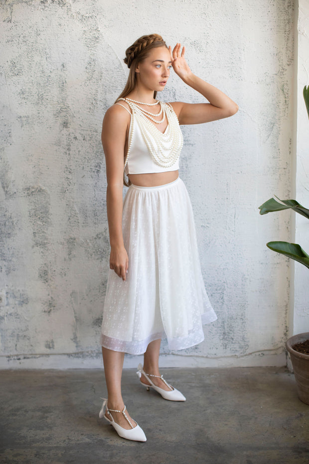 BOHO LACE MIDI SKIRT  #1- BRIDAL SEPARATES COLLECTION  Wedding Dress - StudioSharonGuy