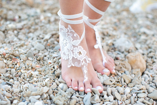 Lace Barefoot sandals - StudioSharonGuy - sandals - wedding dresses - beach - boho
