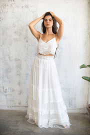 CHIFFON LACE MAXI SKIRT  #3- BRIDAL SEPARATES COLLECTION  Wedding Dress - StudioSharonGuy
