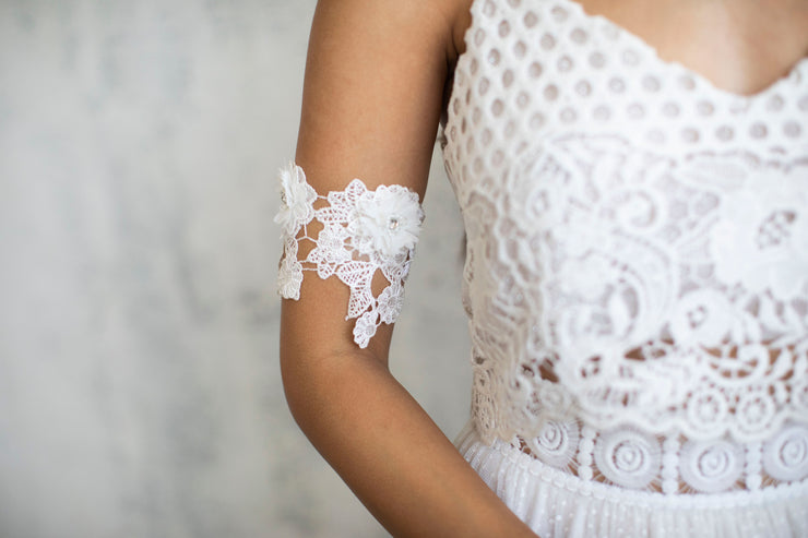 3D Floral Lace Arm Band # 9 - Bridal Collection  Arm bracelet - StudioSharonGuy