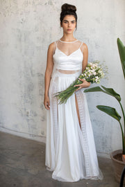2 SLITS CHIFFON LACE MAXI SKIRT  #4- BRIDAL SEPARATES COLLECTION  Wedding Dress - StudioSharonGuy
