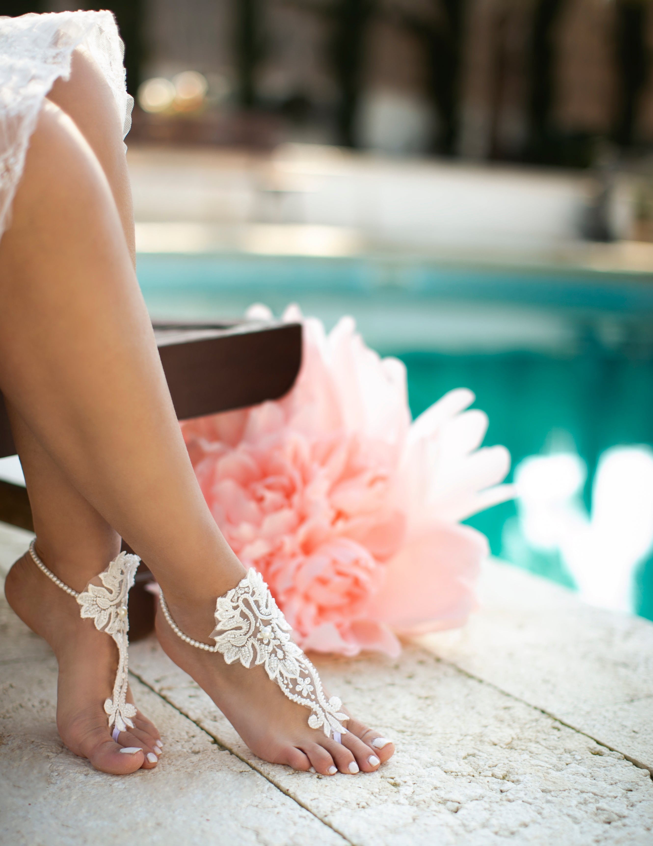 French Lace Barefoot Sandals