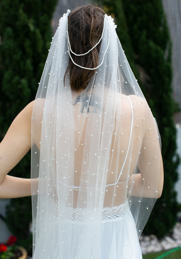 Romantic Veil with pearls  Veils - StudioSharonGuy