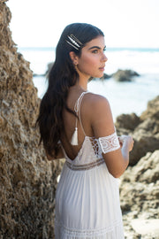 White boho lace upper arm bracelet - bridal collection  Arm bracelet - StudioSharonGuy