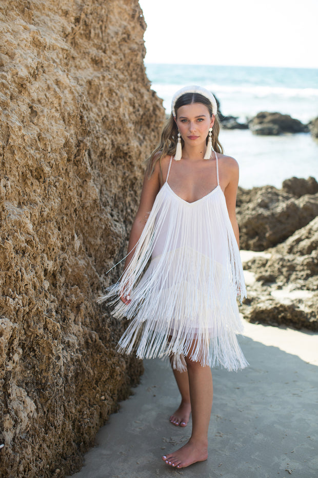 GABRIEL MINI FRINGE WEDDING GOWN  Wedding Dress - StudioSharonGuy
