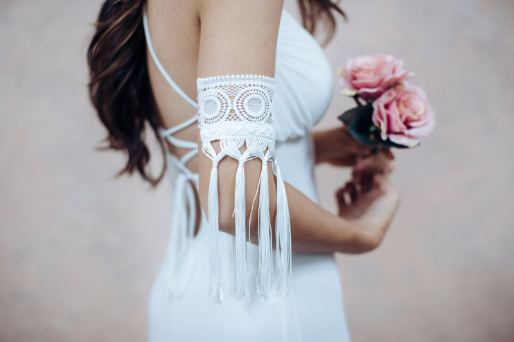 Boho Fringe Arm bracelet # 10 - bridal collection  Arm bracelet - StudioSharonGuy