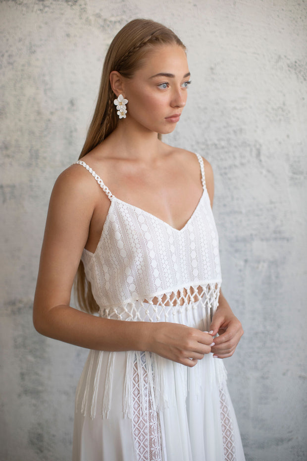 LACE & FRINGES BRIDAL TOP #5- BRIDAL SEPARATES COLLECTION  Wedding Dress - StudioSharonGuy