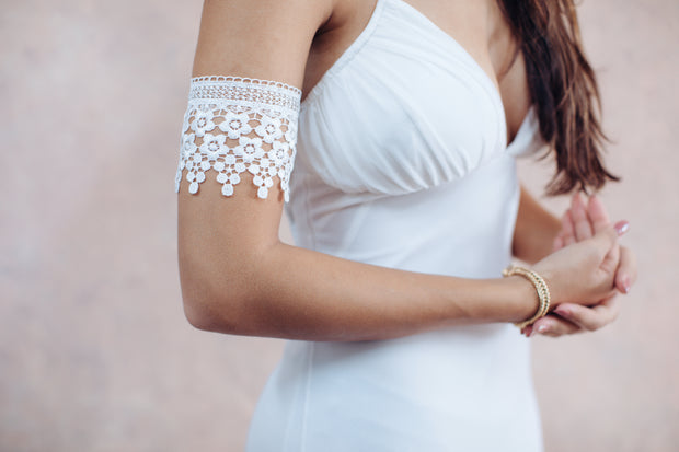 Floral lace white arm bracelet - bridal collection  Arm bracelet - StudioSharonGuy