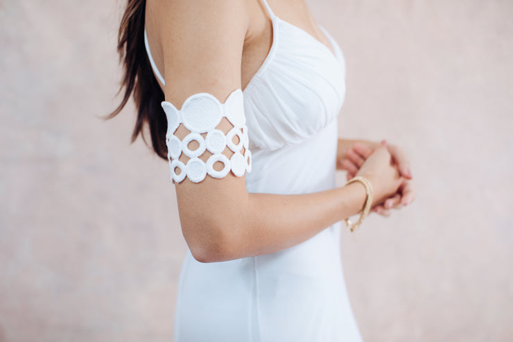 Ivory geometric arm bracelet # 3 - bridal collection,  Arm bracelet - StudioSharonGuy