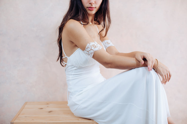 Dainty lace upper arm cuff - bridal collection  Arm bracelet - StudioSharonGuy