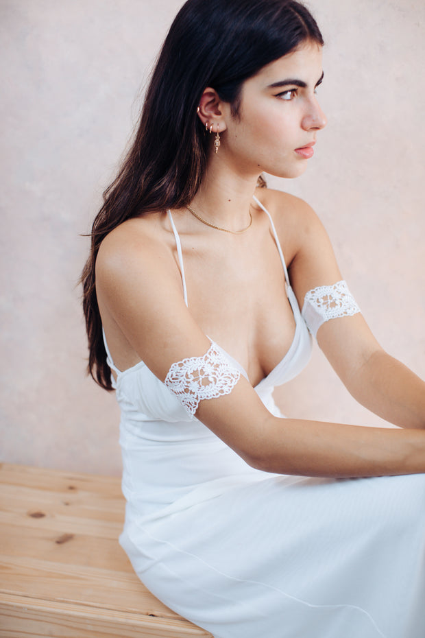 Dainty lace upper arm cuff # 15- bridal collection  Arm bracelet - StudioSharonGuy