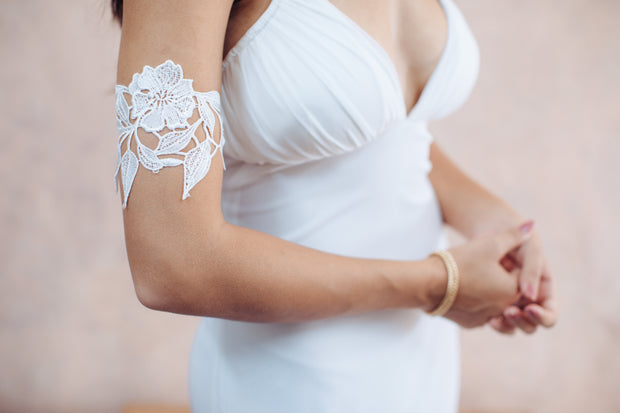 Floral sequin lace arm bracelet - bridal collection, bridal accessories, bridesmaid gift,  Arm bracelet - StudioSharonGuy