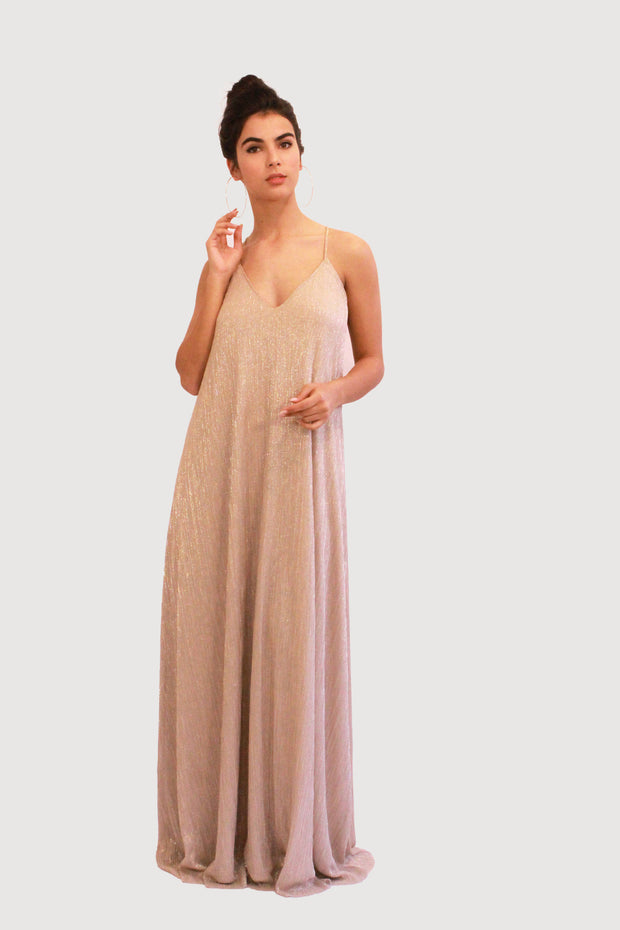 LIZI GOLD BRIDESMAID GOWN - StudioSharonGuy - dress - wedding dresses - beach - boho