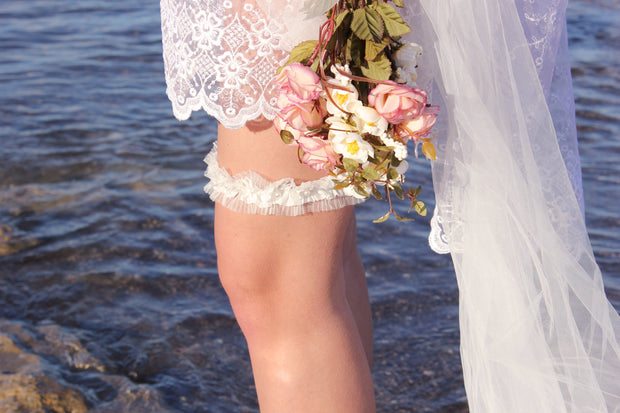 OFF WHITE BRIDAL GARTER  garter - StudioSharonGuy