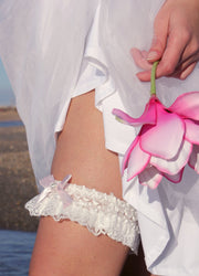 PINK BOW BRIDAL GARTER - StudioSharonGuy - garter - wedding dresses - beach - boho