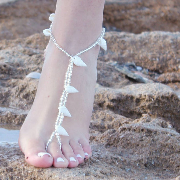 SEASHELL BAREFOOT SANDALS - StudioSharonGuy - sandals - wedding dresses - beach - boho