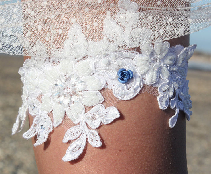 LACE WEDDING GARTER  garter - StudioSharonGuy