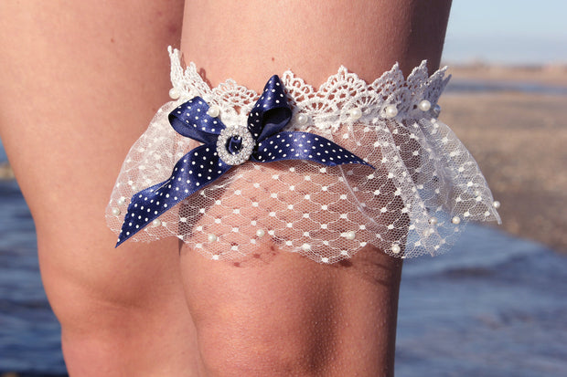 BLUE RIBBON WEDDING GARTER  garter - StudioSharonGuy