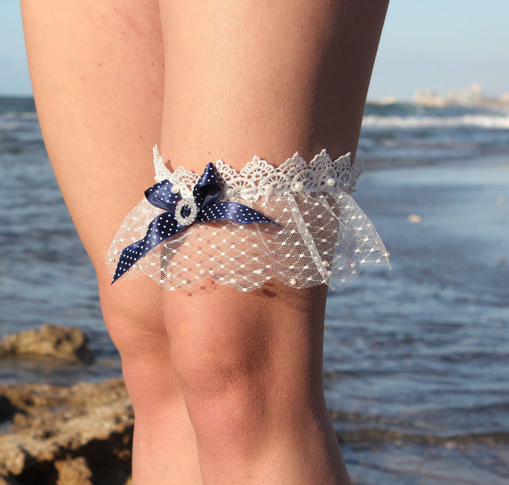 BLUE RIBBON WEDDING GARTER - StudioSharonGuy - garter - wedding dresses - beach - boho