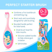 Bobbie Flossbrush Starter Toothbrush for Ages 0-3 Years (3-Pack)