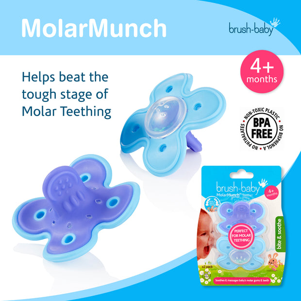MolarMunch Teether and Chewable Toothbrush and DentalWipes Teething Set