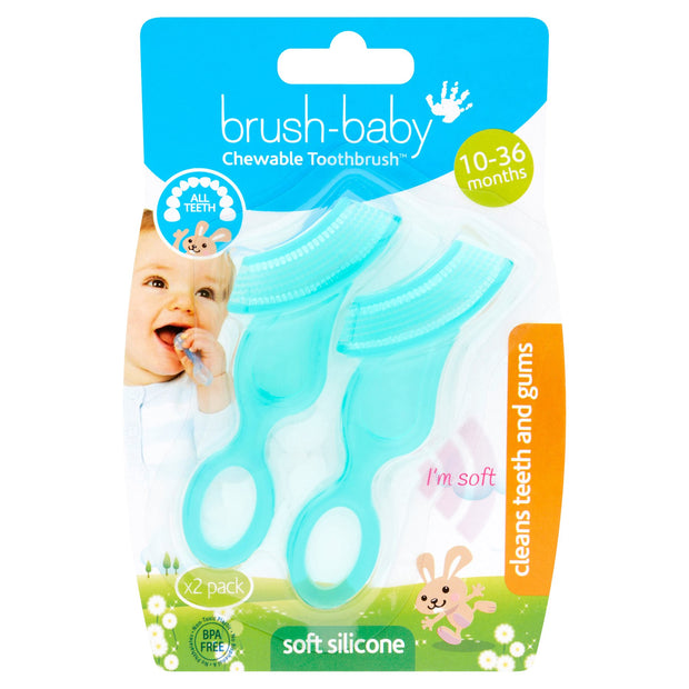 Chewable Toothbrush and Teether (10-36 months) Twin Pack
