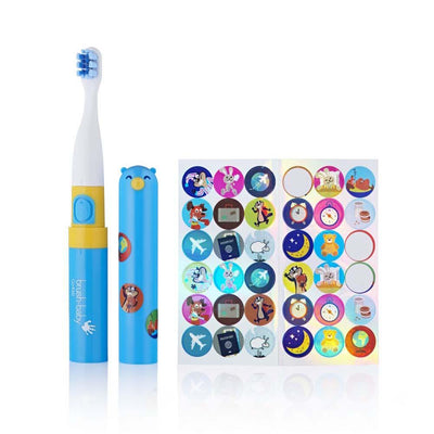 go kidz travel toothbrush childrens electric toothbrushes blue with sticker sets