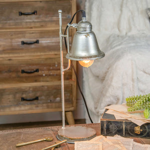 Metal Lamp with Distressed Paint