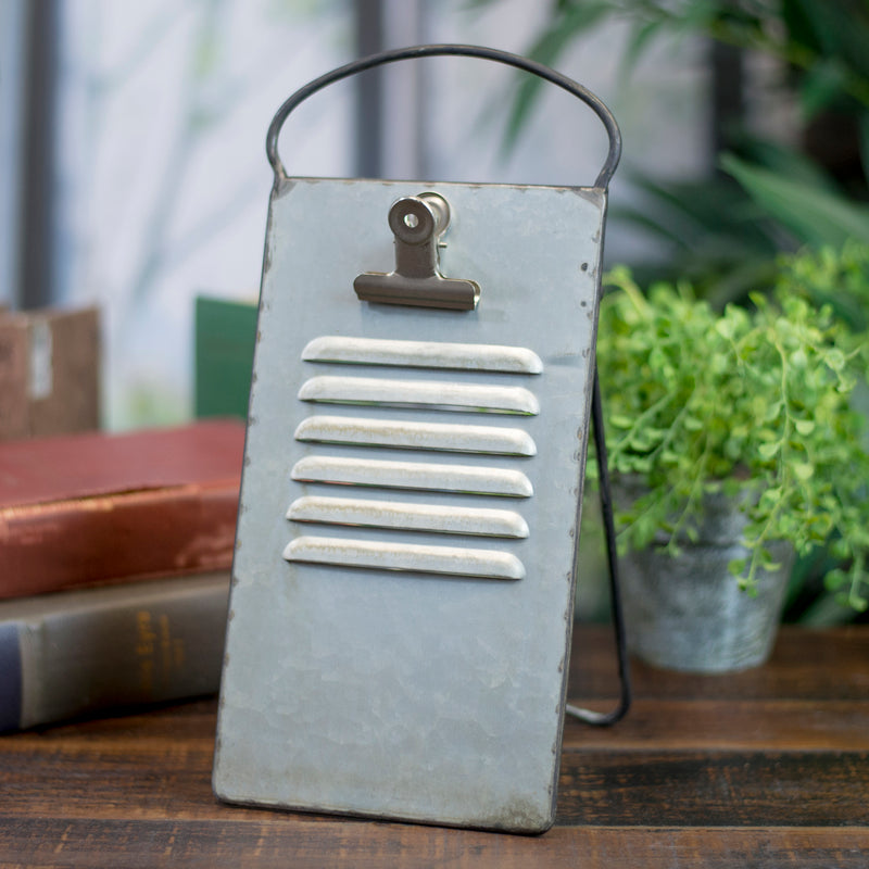Vintage Galvanized Metal Recipe Holder