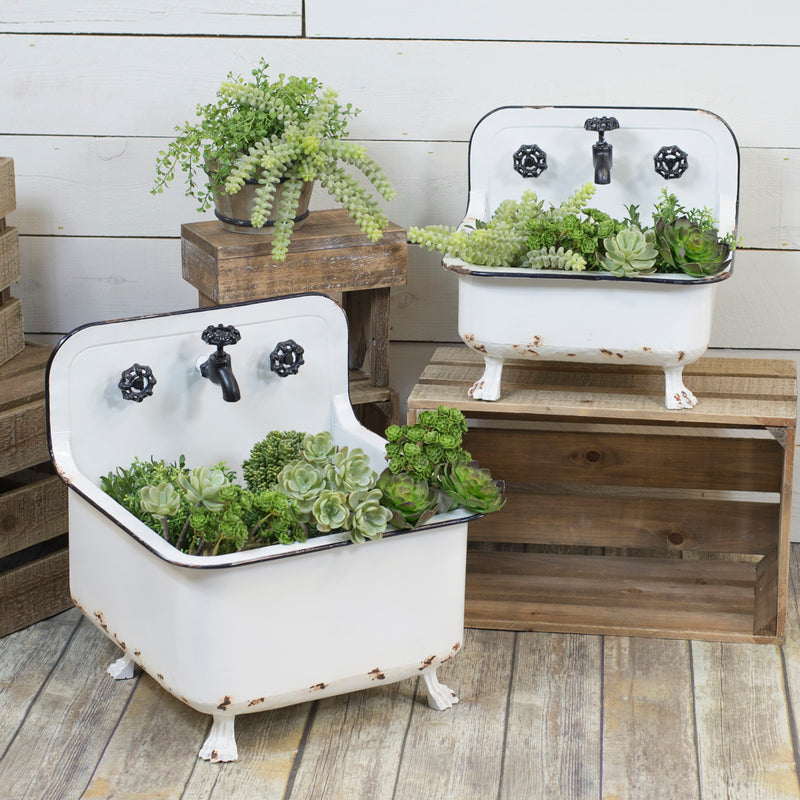Metal Wash Basin Planters Set/2
