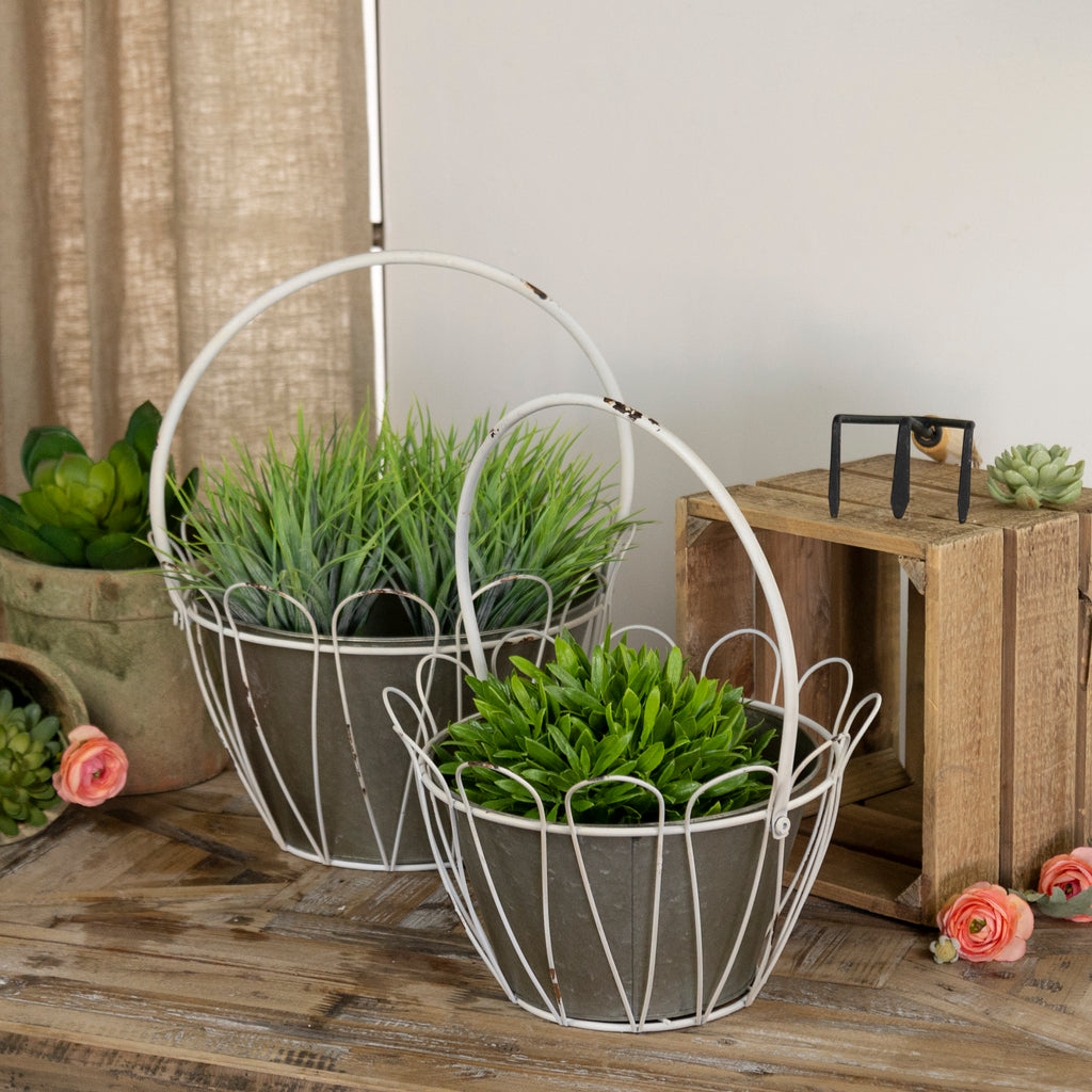 Metal Planters S/2 with Galvanized Metal Finish