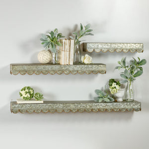 Metal Shelves S/3 with Scalloped Frame With Gold Trim