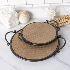 Set of Two Round Wood Trays