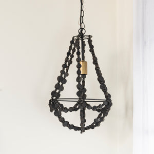 Metal And Wood Pendant Light with  Ceiling Canopy