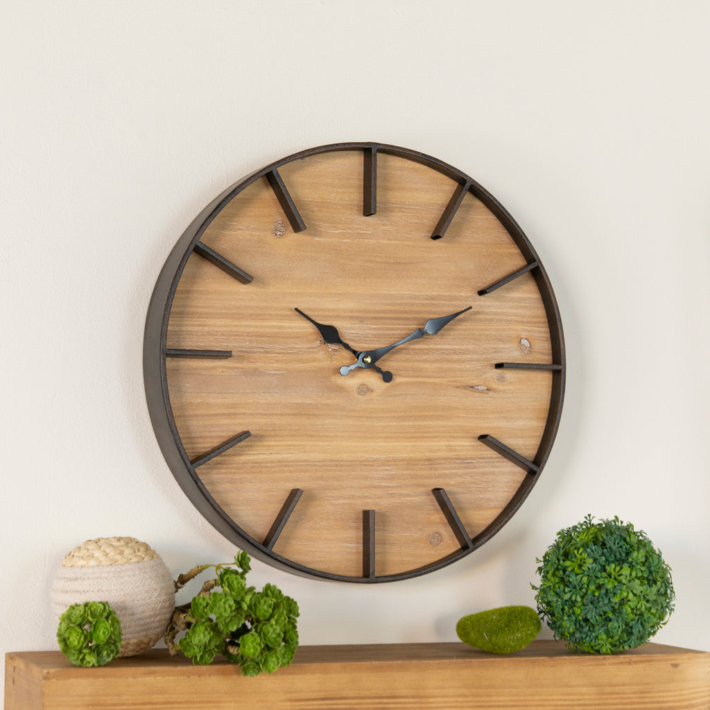 Wood Wall Clock 15.75""